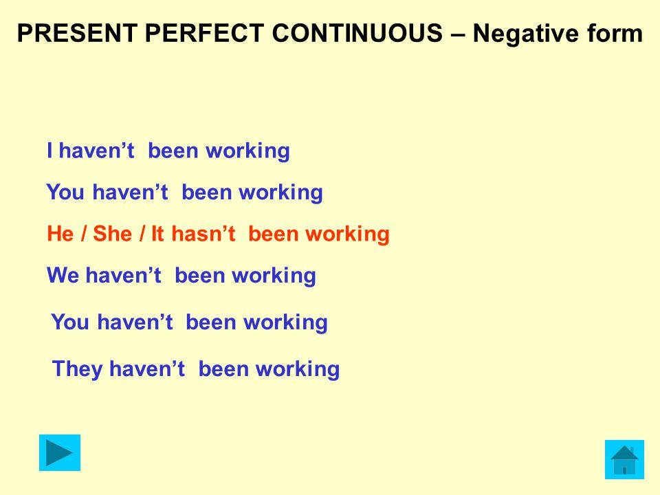 PRESENT PERFECT CONTINUOUS – Negative form