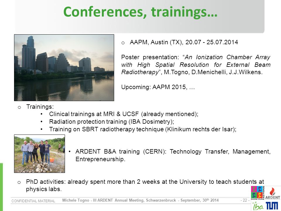 Conferences, trainings…