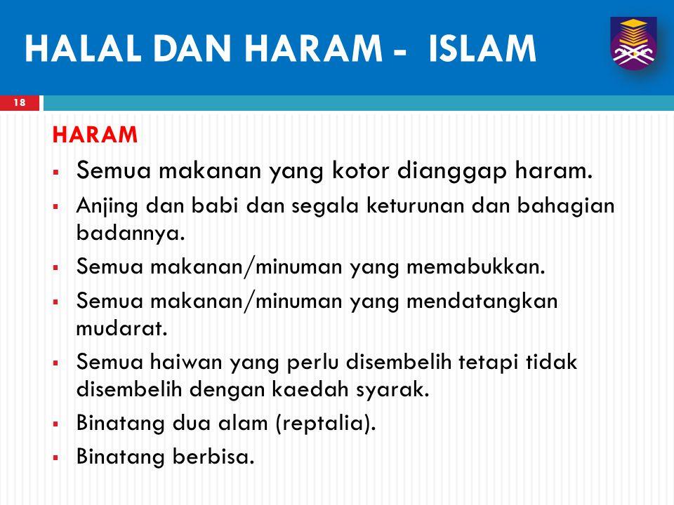 HALAL DAN HARAM - ISLAM Semua makanan yang kotor dianggap haram. HARAM