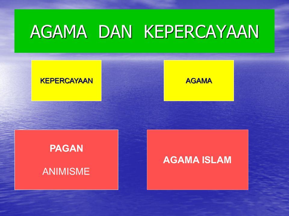 AGAMA DAN KEPERCAYAAN KEPERCAYAAN AGAMA PAGAN ANIMISME AGAMA ISLAM