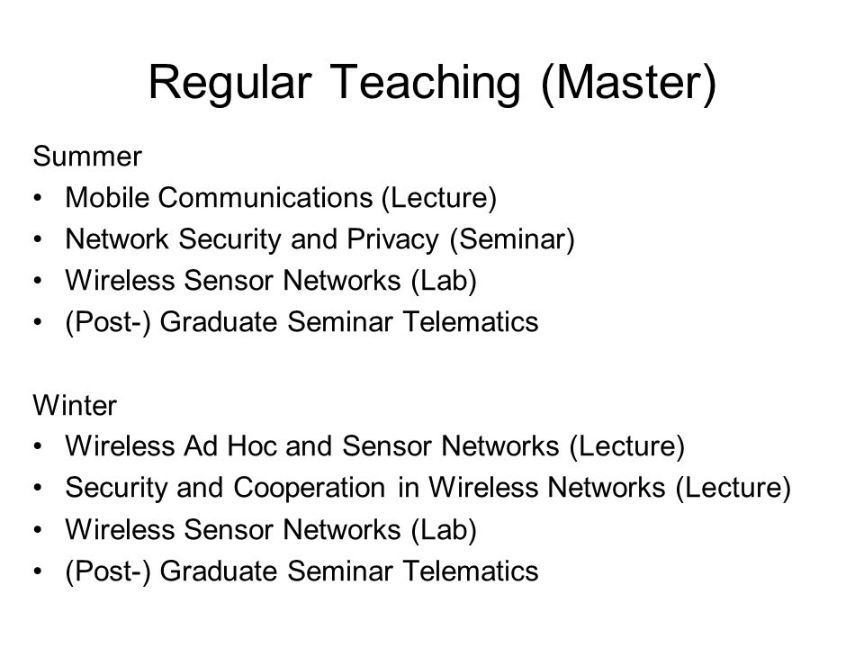 Regular Teaching (Master)