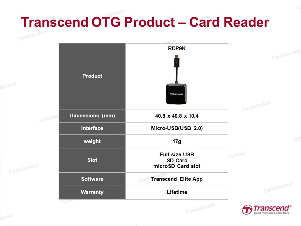 Transcend OTG Product – Card Reader