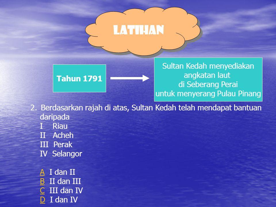 LATIHAN Sultan Kedah menyediakan angkatan laut Tahun 1791