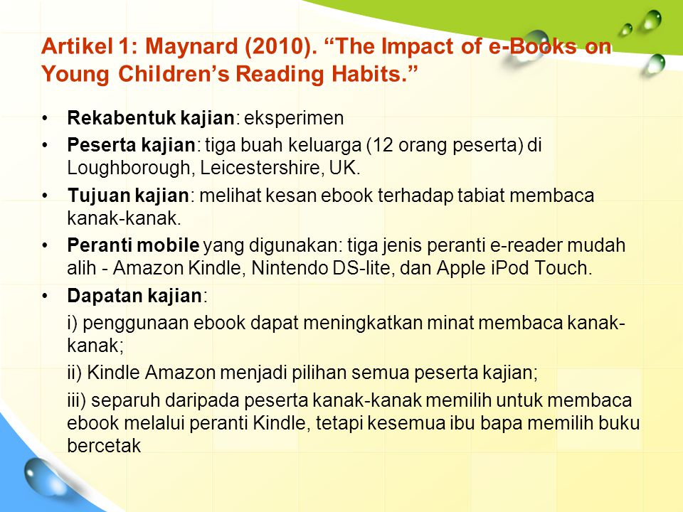 Artikel 1: Maynard (2010). The Impact of e-Books on Young Children's Reading Habits.