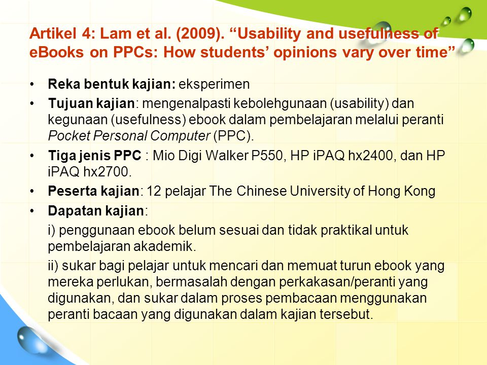 Artikel 4: Lam et al. (2009). Usability and usefulness of eBooks on PPCs: How students' opinions vary over time