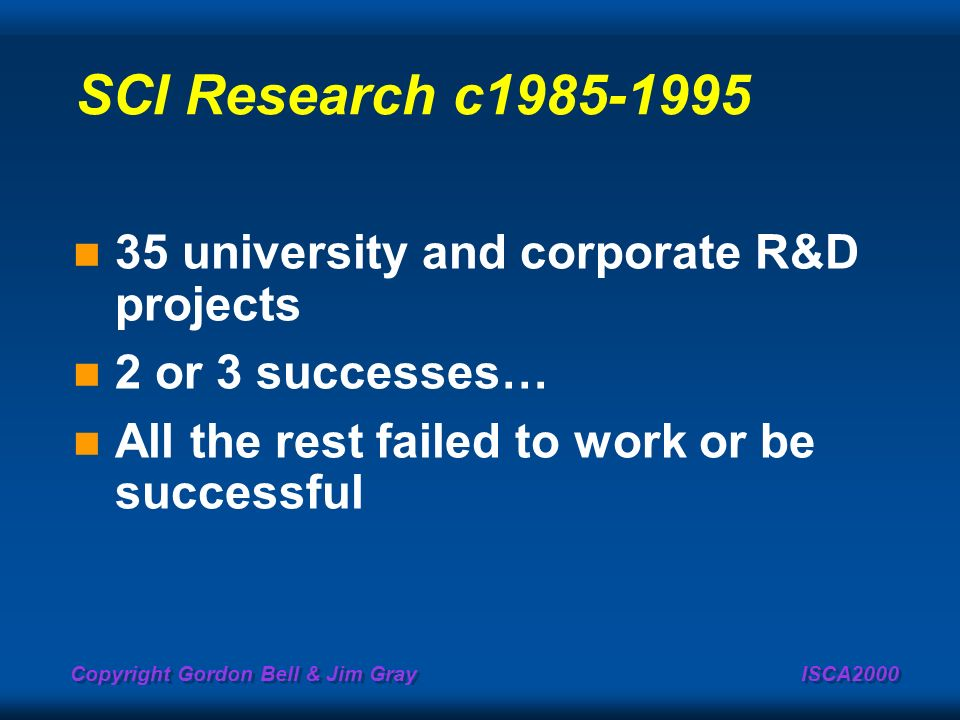 SCI Research c1985-1995 35 university and corporate R&D projects