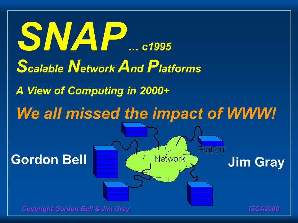 SNAP … c1995 Scalable Network And Platforms A View of Computing in 2000+ We all missed the impact of WWW!