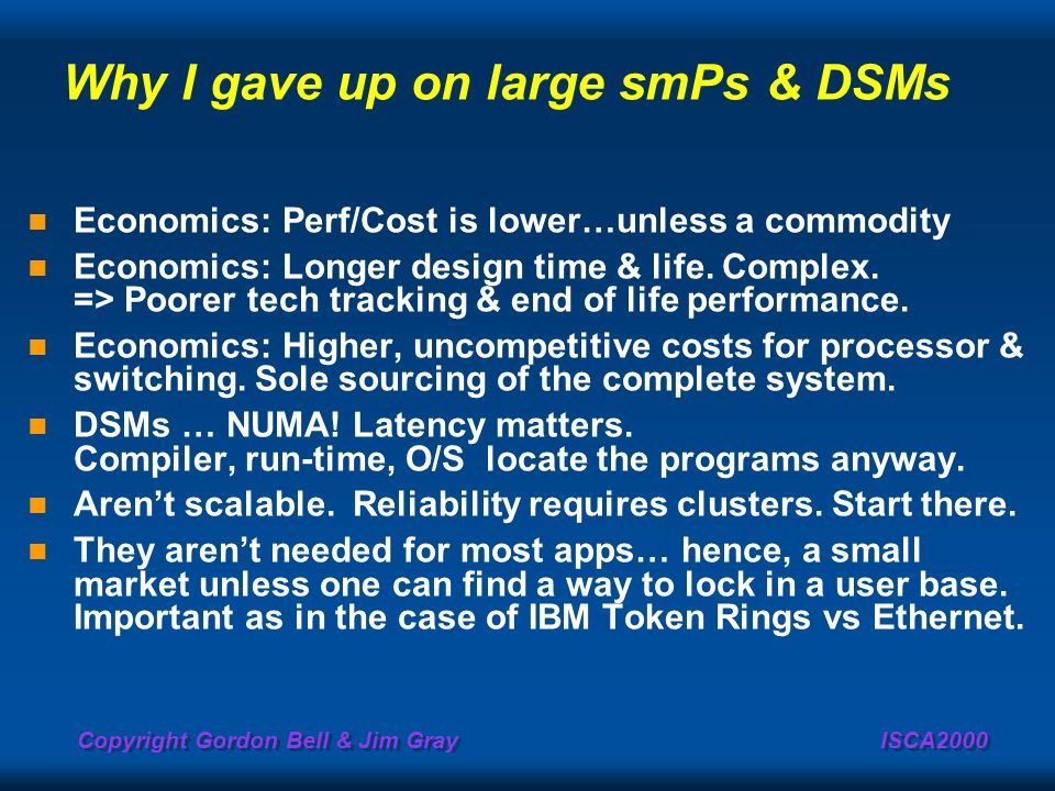 Why I gave up on large smPs & DSMs