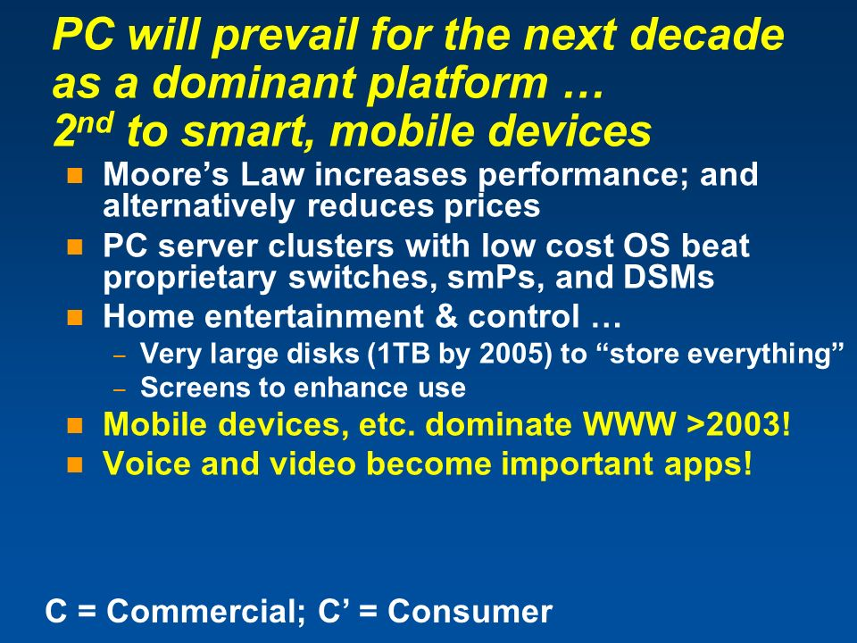 PC will prevail for the next decade as a dominant platform … 2nd to smart, mobile devices