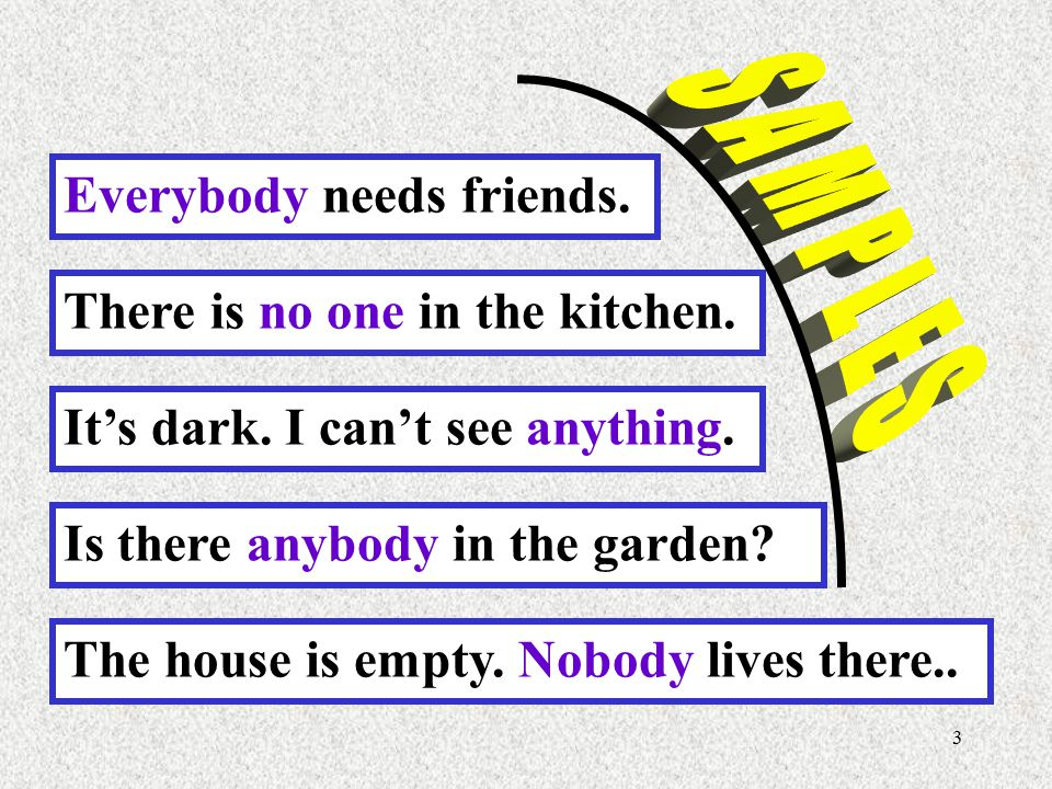 S A M P L E S Everybody needs friends. There is no one in the kitchen. It's dark. I can't see anything.