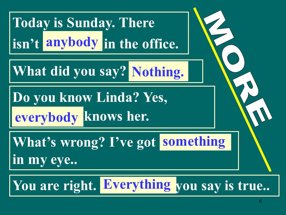 Today is Sunday. There isn't ............. in the office. anybody. What did you say ................