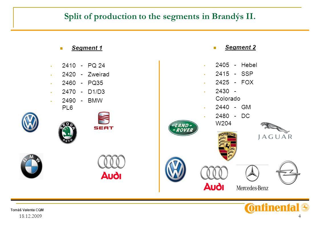 Split of production to the segments in Brandýs II.