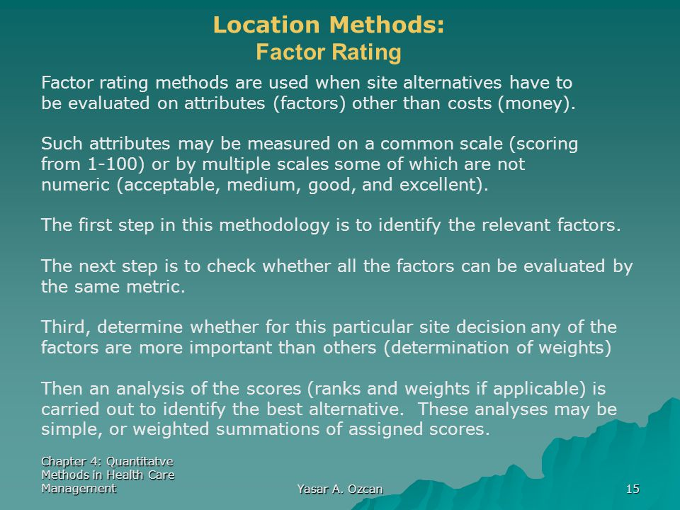 Location Methods: Factor Rating