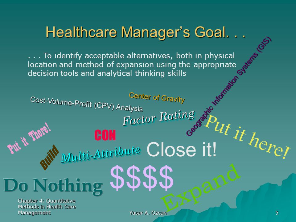 Healthcare Manager's Goal. . .