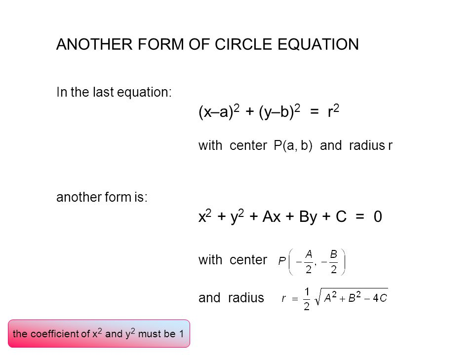ANOTHER FORM OF CIRCLE EQUATION