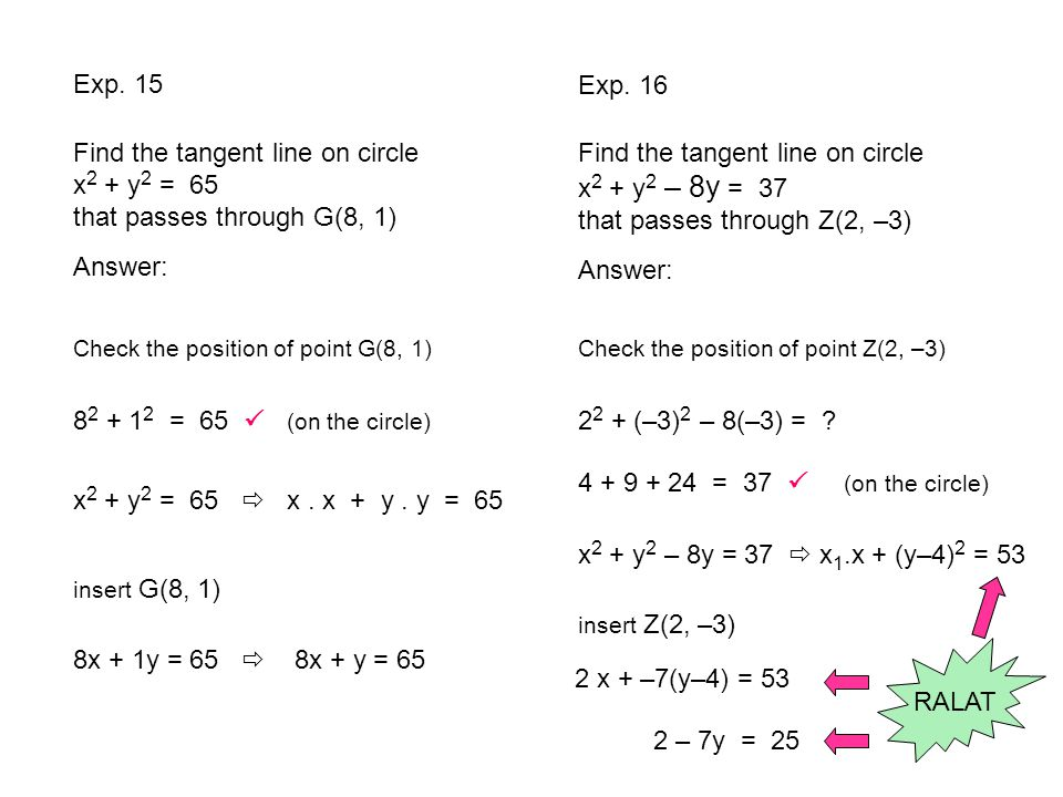 Exp. 15 Exp. 16. Find the tangent line on circle x2 + y2 = 65 that passes through G(8, 1)