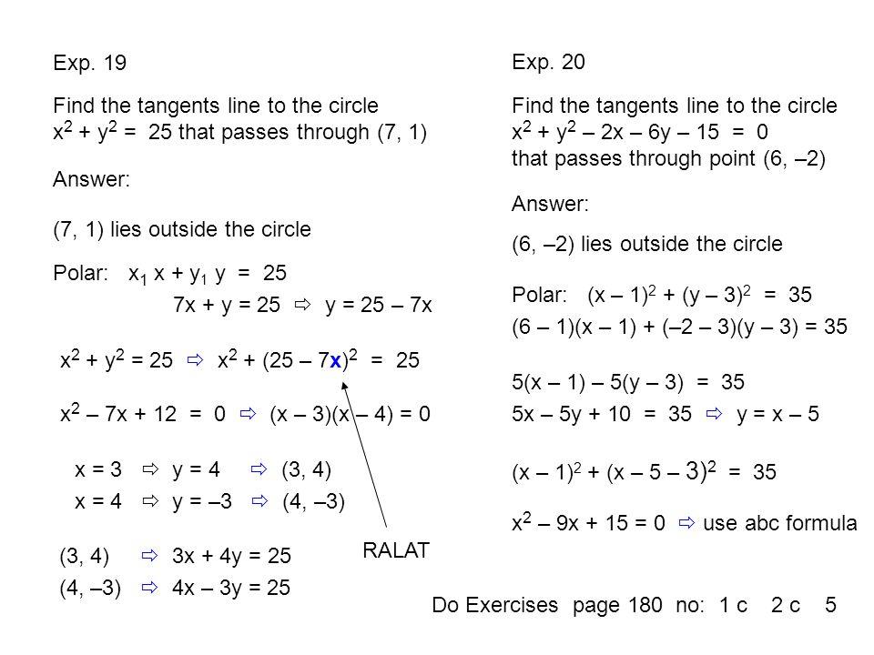 (7, 1) lies outside the circle (6, –2) lies outside the circle