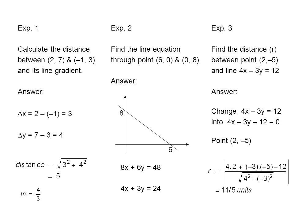 Exp. 1 Calculate the distance. between (2, 7) & (–1, 3) and its line gradient. Answer: Exp. 2. Find the line equation.