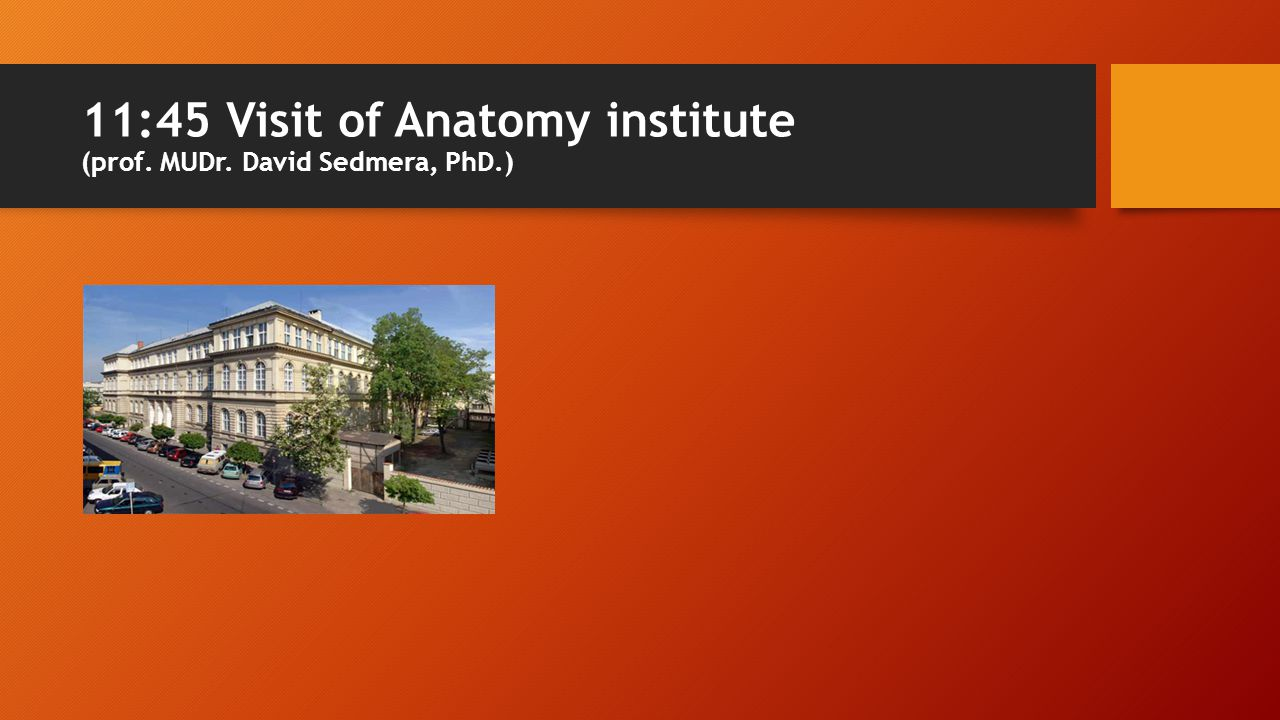 11:45 Visit of Anatomy institute (prof. MUDr. David Sedmera, PhD.)