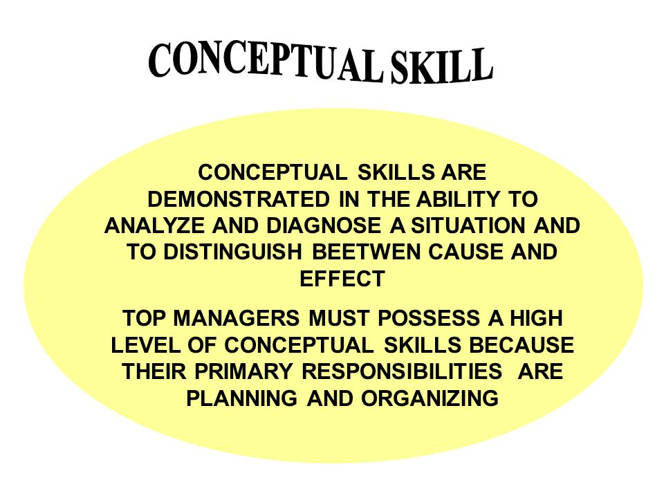 CONCEPTUAL SKILL CONCEPTUAL SKILLS ARE DEMONSTRATED IN THE ABILITY TO ANALYZE AND DIAGNOSE A SITUATION AND TO DISTINGUISH BEETWEN CAUSE AND EFFECT.