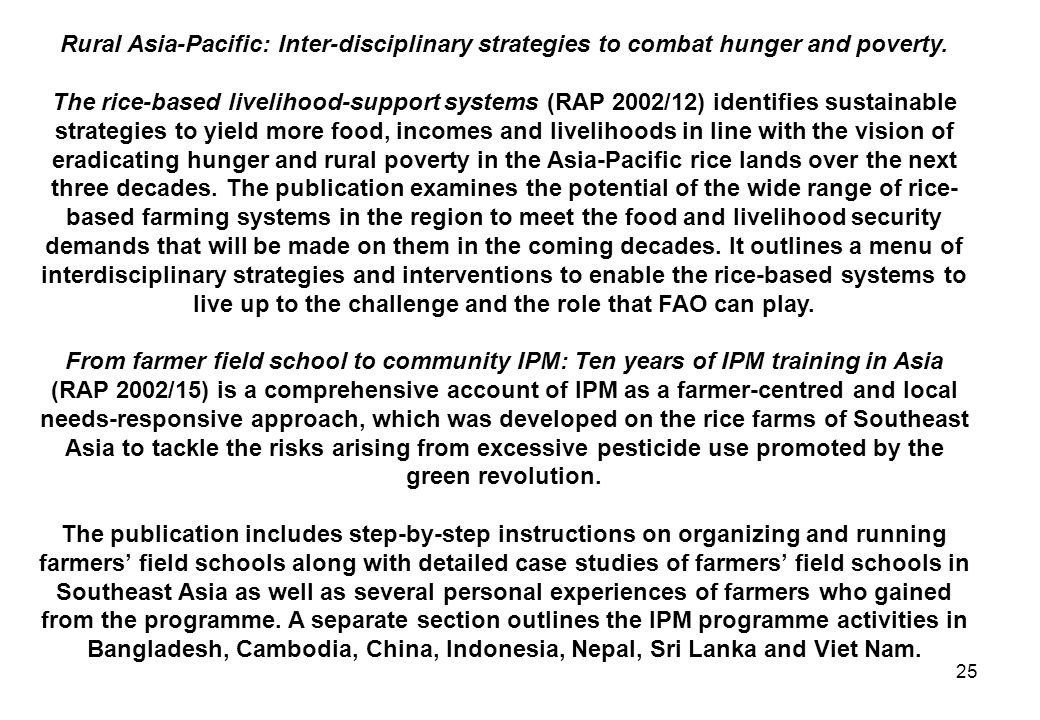 Rural Asia-Pacific: Inter-disciplinary strategies to combat hunger and poverty.