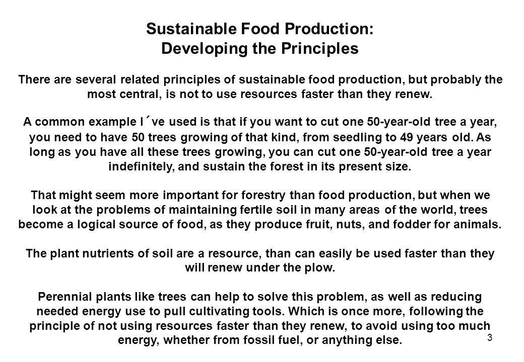 Sustainable Food Production: Developing the Principles