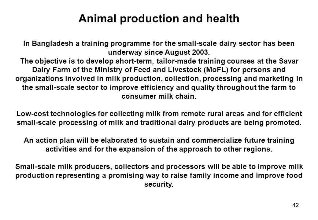 Animal production and health