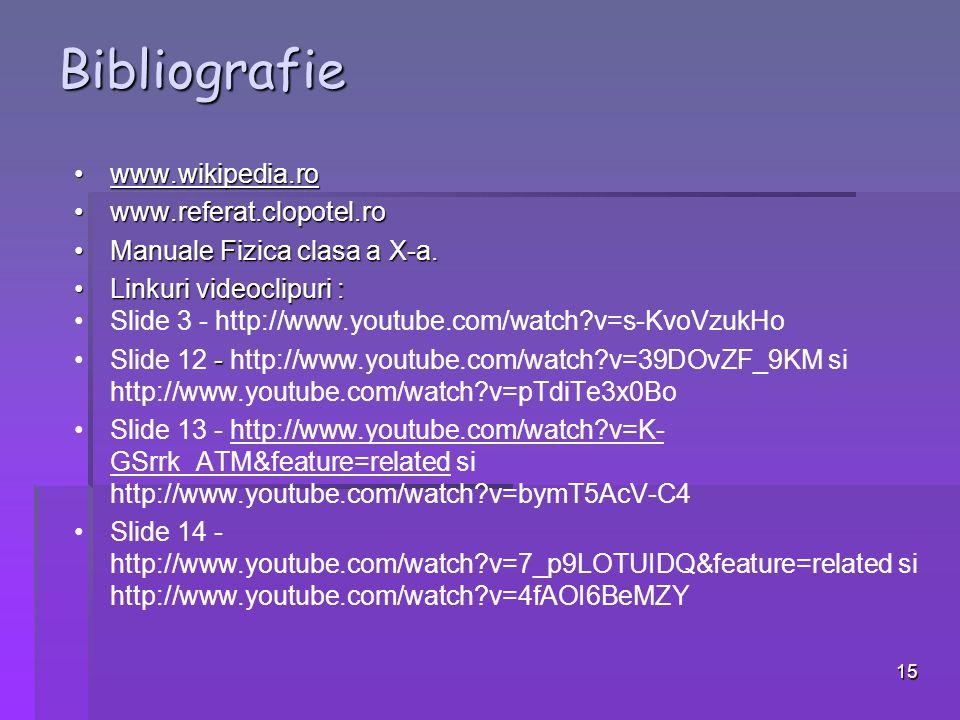 Bibliografie www.wikipedia.ro www.referat.clopotel.ro