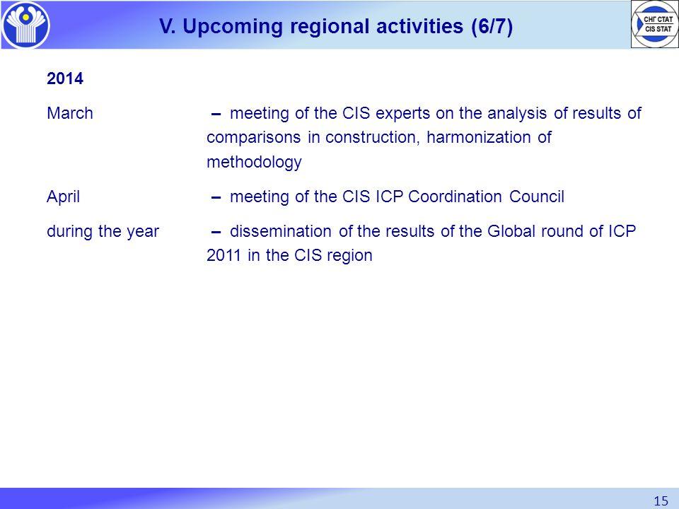 V. Upcoming regional activities (6/7)