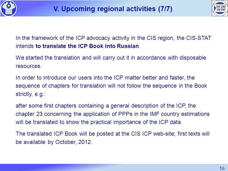 V. Upcoming regional activities (7/7)