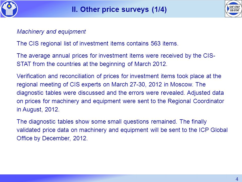 II. Other price surveys (1/4)