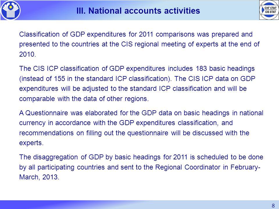 III. National accounts activities