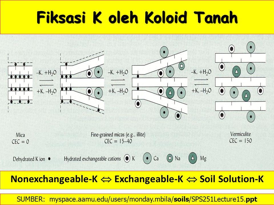 Fiksasi K oleh Koloid Tanah