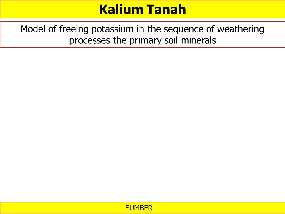 Kalium Tanah Model of freeing potassium in the sequence of weathering processes the primary soil minerals.