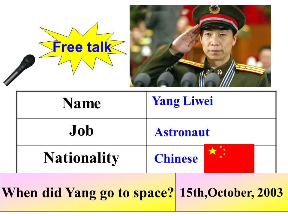 When did Yang go to space