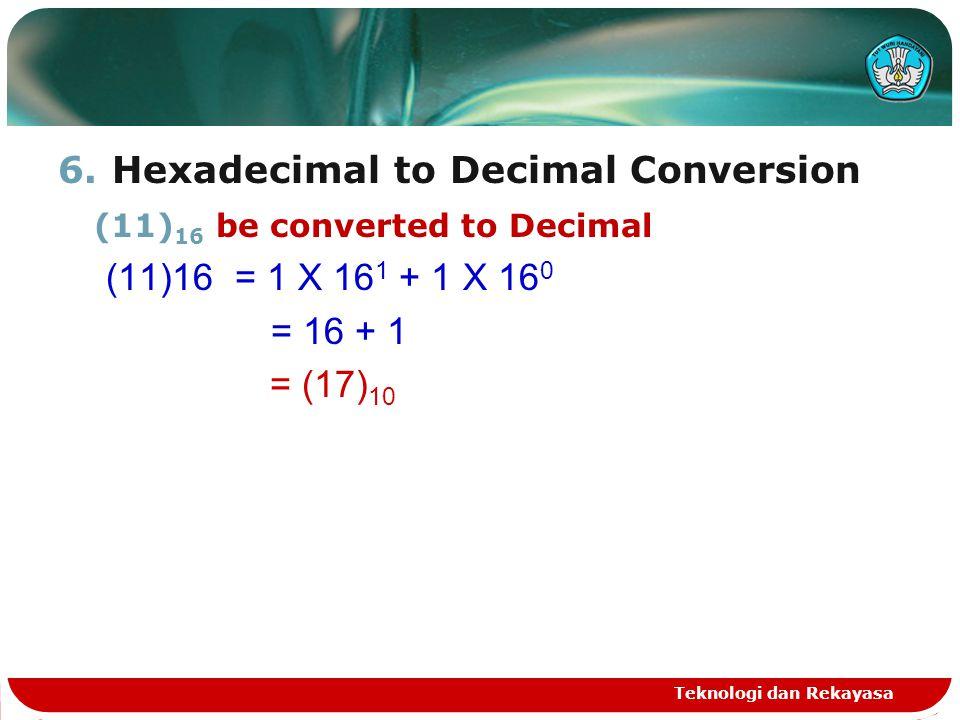 Hexadecimal to Decimal Conversion (11)16 be converted to Decimal