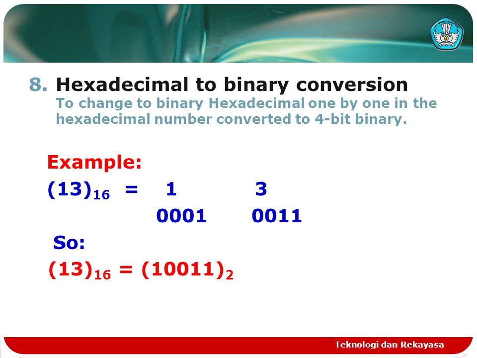 Hexadecimal to binary conversion To change to binary Hexadecimal one by one in the hexadecimal number converted to 4-bit binary.