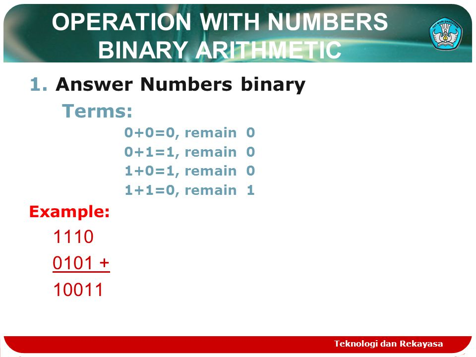 OPERATION WITH NUMBERS BINARY ARITHMETIC