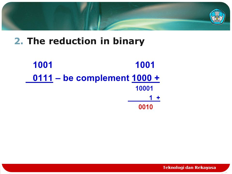 The reduction in binary 1001 1001 0111 – be complement 1000 +