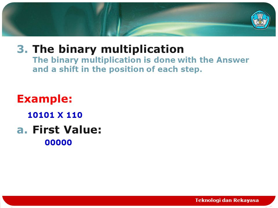 The binary multiplication The binary multiplication is done with the Answer and a shift in the position of each step.