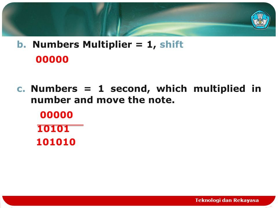 00000 Numbers Multiplier = 1, shift