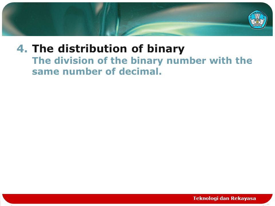 The distribution of binary The division of the binary number with the same number of decimal.