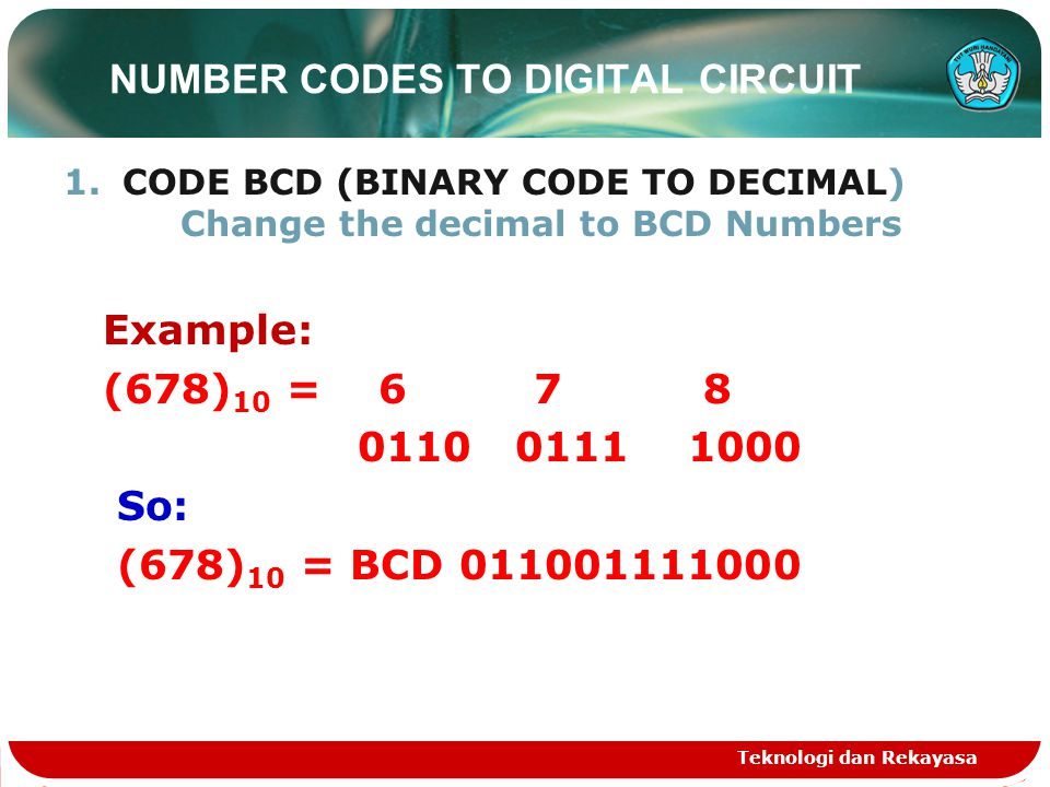 NUMBER CODES TO DIGITAL CIRCUIT