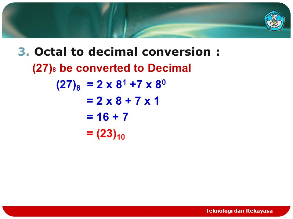 Octal to decimal conversion : (27)8 be converted to Decimal