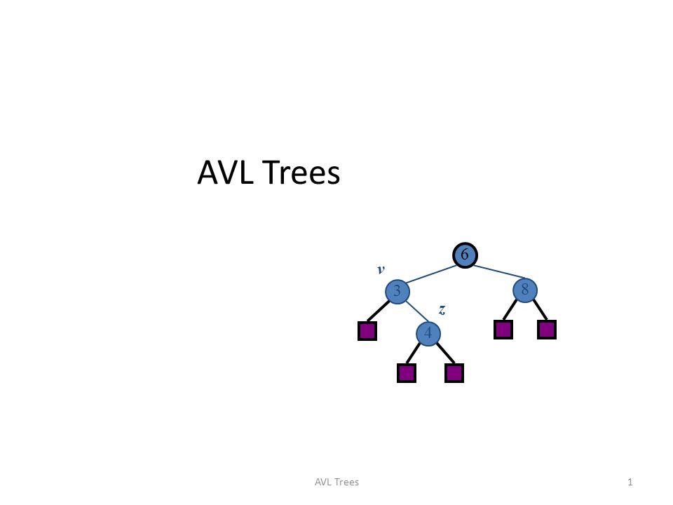Red-Black Trees 二○一七年四月十二日 AVL Trees 6 3 8 4 v z AVL Trees