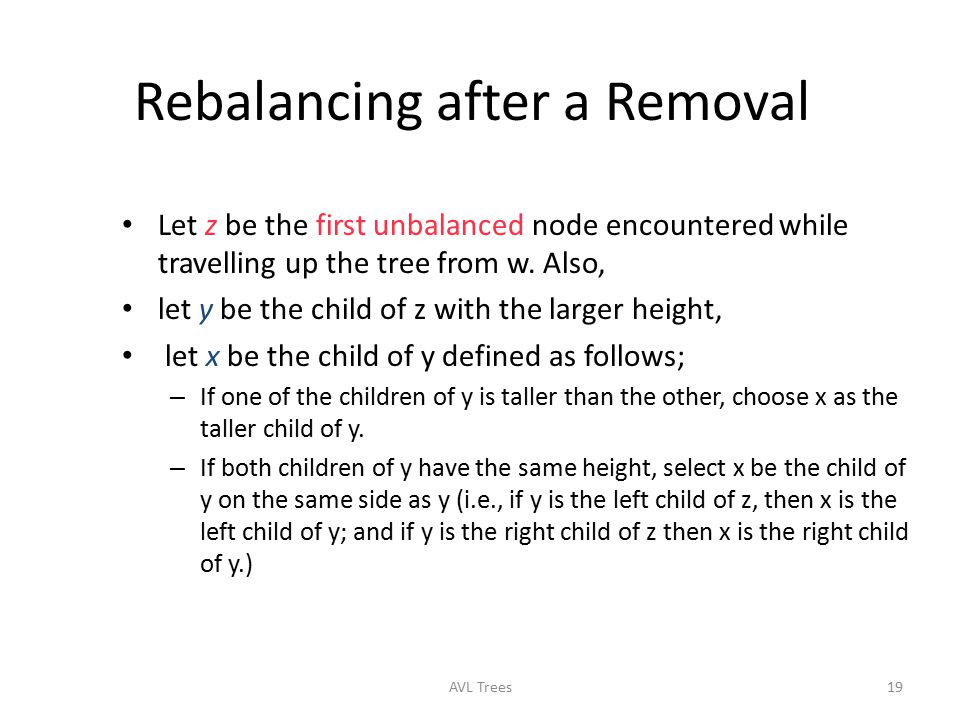 Rebalancing after a Removal