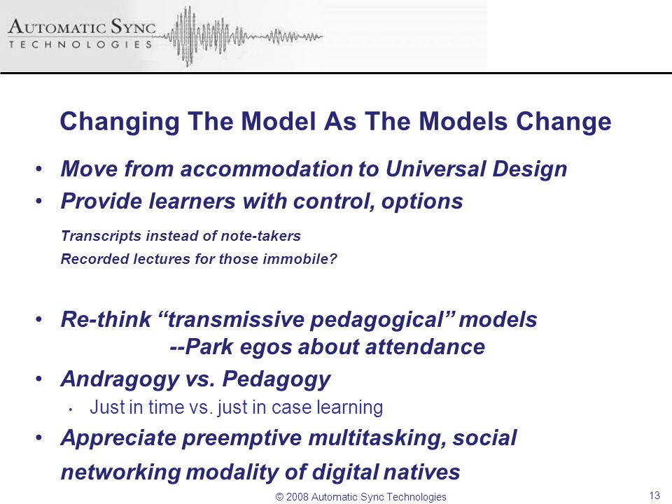 Changing The Model As The Models Change