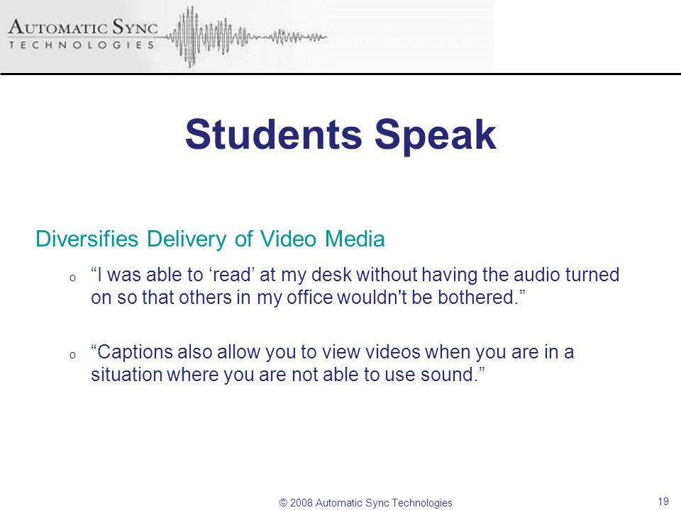 Students Speak Diversifies Delivery of Video Media