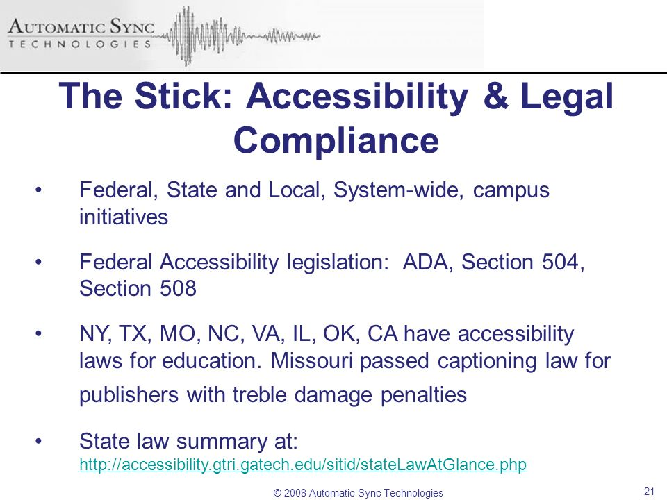 The Stick: Accessibility & Legal Compliance