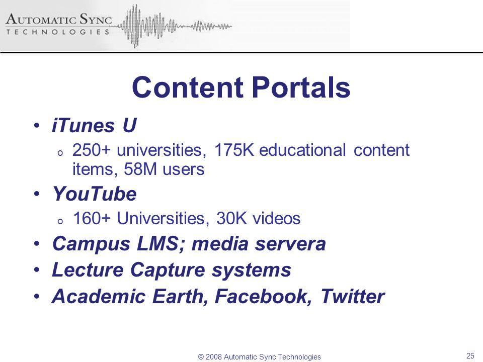 Content Portals iTunes U YouTube Campus LMS; media servera